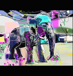 Abstract memphis digital painting of indian vector