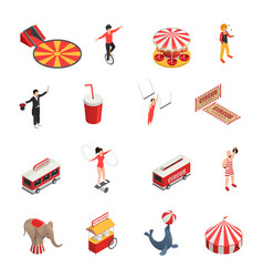 Circus isometric icons set vector