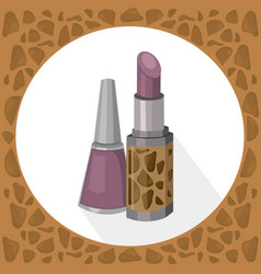 Lipstick and nail polish lavender color collection vector