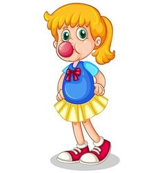 A little girl eating bubblegum vector image
