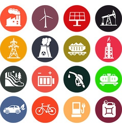 Energy icons in color vector