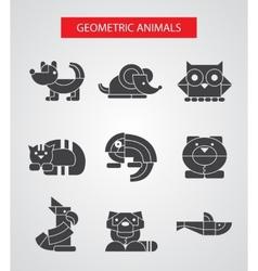 Set of flat design geometric animals icons vector