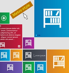 Bookshelf icon sign metro style buttons modern vector