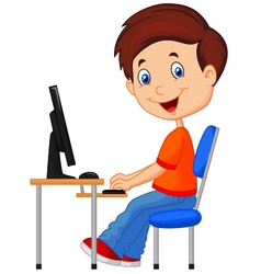 Kid with personal computer vector