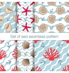 Set of sea seamless patterns with curves vector