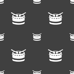 Drum icon sign seamless pattern on a gray vector