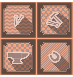 Seamless background with blacksmith tools vector