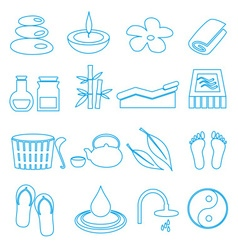 Spa and relaxation simple blue outline icons set vector