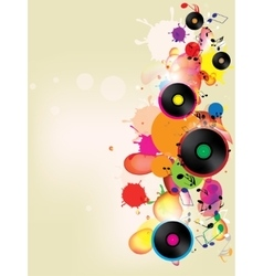 Abstract colored background with vinyl and musical vector
