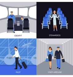 Pilot and stewardess 4 flat icons vector