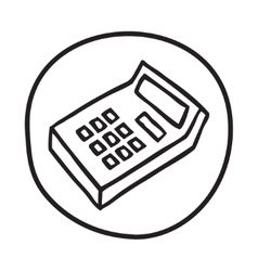 Doodle calculator icon vector