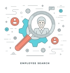 Flat line business team employee search vector