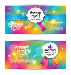 Banner set happy holi beautiful indian festival vector