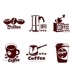 Set coffee logos vector