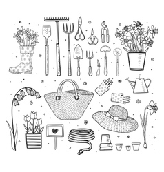 Big set of hand drawn sketch garden elements vector