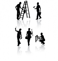 Construction workers silhouettes vector