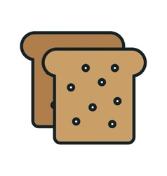 Delicious and fresh bread icon vector