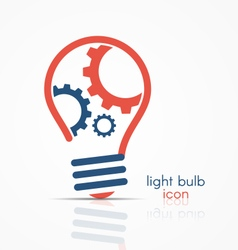 Light bulb idea icon with three gears vector