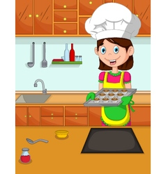Cute mom cartoon cook in the kitchen vector