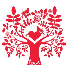 One color love message tree with birds vector image