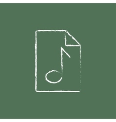 Audio file icon drawn in chalk vector