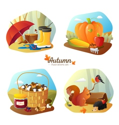 Autumn 4 Icons Square Set vector image