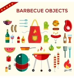 Barbecue and Food Icons Objects set vector image vector image