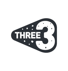 Black and white number three logo template vector