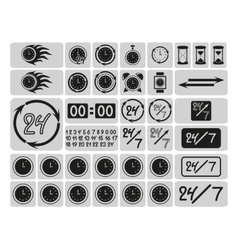Black clocks icons in the gray squares vector image