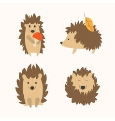 Cartoon hedgehog set vector