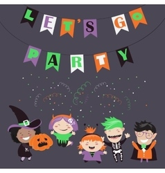 Children trick or treating in Halloween costume vector image