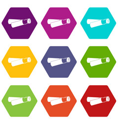 cigarette butt icon set color hexahedron vector image vector image