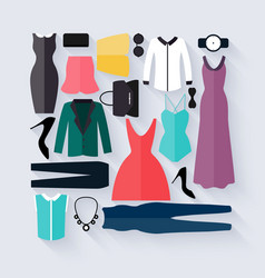 Clothing icons set shopping elements Flat design vector image