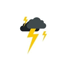 Clouds and lightning icon flat style vector image vector image
