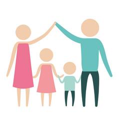 Color silhouette pictogram parents holding hands vector