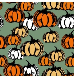 Colorful seamless pattern with pumpkins vector