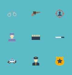 Flat icons manacles bayonet officer emblem and vector