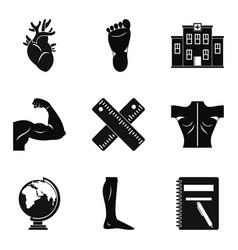 graduate school icons set simple style vector image