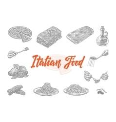 Hand drawn italian food icons set vector