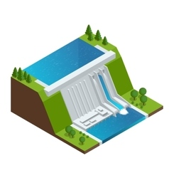 Hydroelectric Power Plant Factory Electric Water vector image