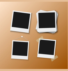 Instant photo frame realistic instant snapshot vector