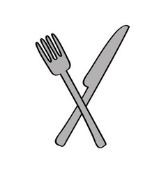 knife and fork kitchen cutlery isolated icon vector image vector image