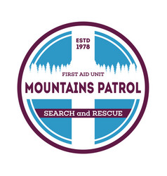 Mountains patrol search and rescue label vector