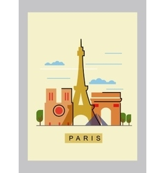 paris and landmark vector image vector image