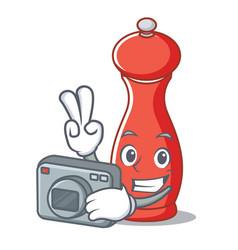 Photographer pepper mill character cartoon vector