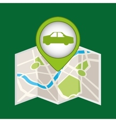 Pin map car environment icon vector