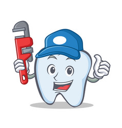 Plumber tooth character cartoon style vector