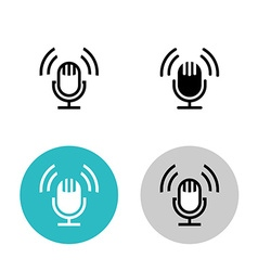 Podcast icon set black studio table microphone vector