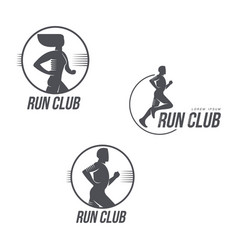 Run club logo set with man and woman silhouettes vector
