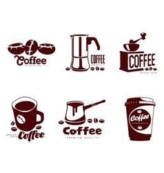 Set coffee logos vector